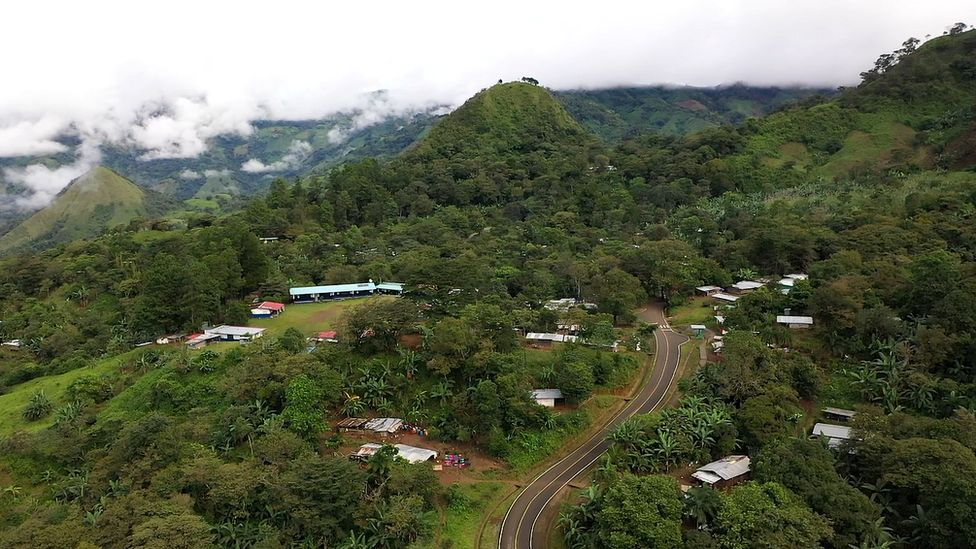An ariel view of a village in Panama