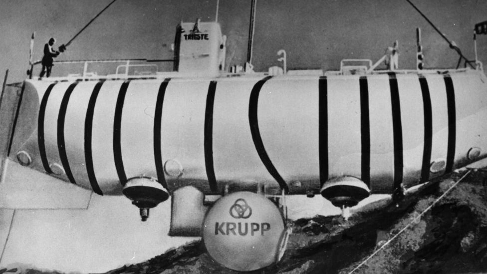 Jacques Piccard in 'Trieste', the bathyscaphe designed by his father Auguste Piccard. Jaques and Lt. Don Walsh reached a record depth in the Mariana Trench on 23rd January 1960. Photo shows the bathyscaphe at the Krupp factory in Essen.