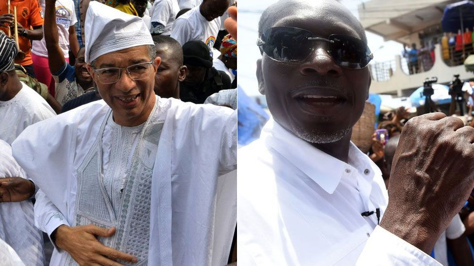 Lionel Zinsou (L) and Patrice Talon (R)