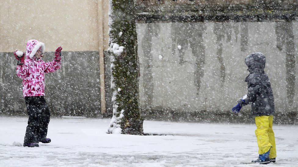 Children took advantage of the rare snowfall in Palma de Majorca on Tuesday 17 January
