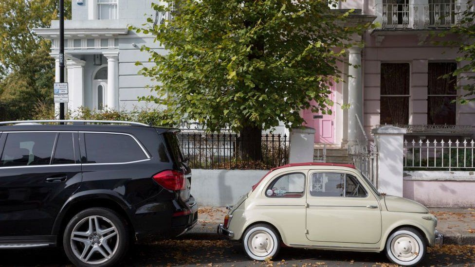 Photo of small and large cars in Notting Hill, west London