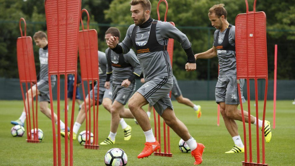 West Bromwich Albion players wear fitness trackers in training