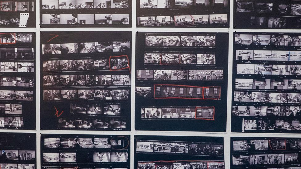 """Enlarged contact sheets from photographer Robert Frank's groundbreaking book """"The Americans"""" at Blue Sky Gallery in Portland, Oregon, USA."""