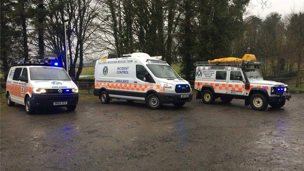 Rescue team vehicles