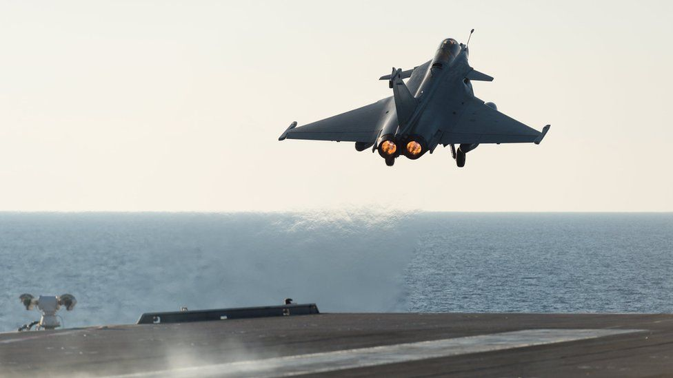 A French rafale aircraft is deployed to support operations against Islamic State in Syria and Iraq