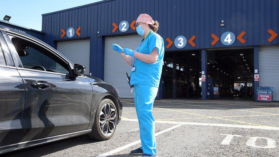 Covid-19 testing at a Belfast MoT centre