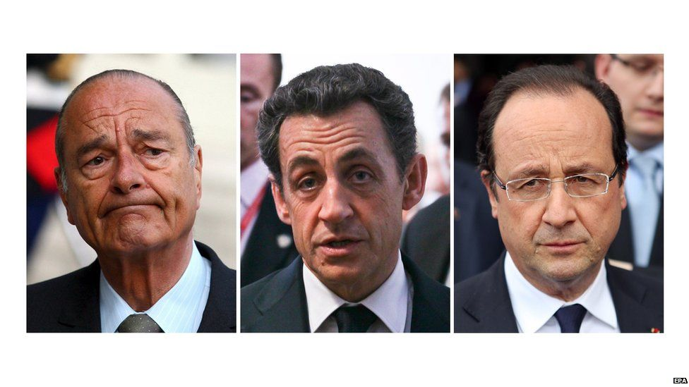 Presidents Chirac, Sarkozy and Hollande