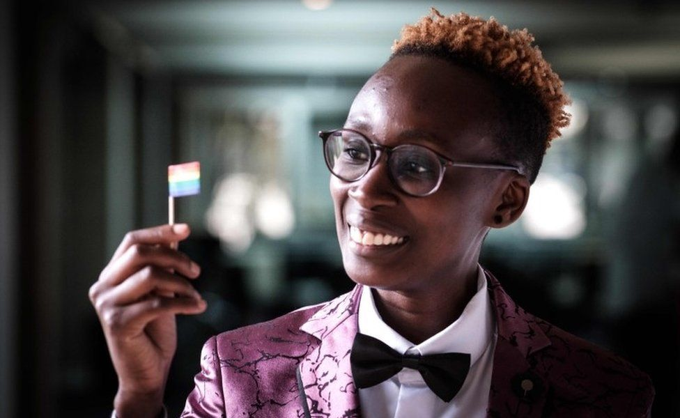 Yvonne Oduor, Gay and Lesbian Coalition of Kenya operations officer, poses after the UN GLOBE event celebrating first time on the International Day against Homophobia and Transphobia (IDAHOT), on May 17, 2018, at United Nations Office in Nairobi, Kenya