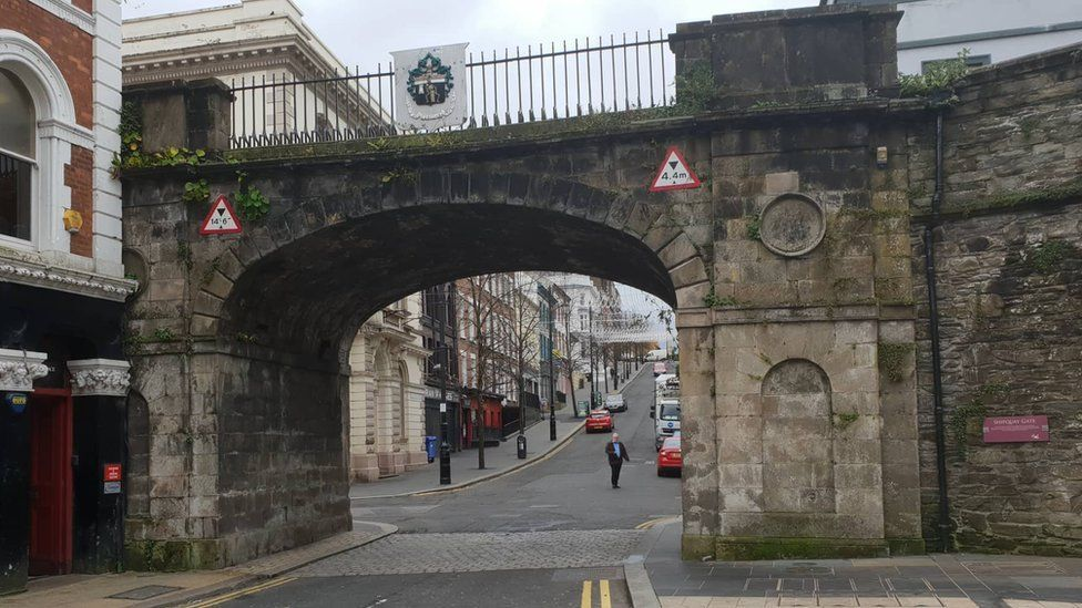 The bottom of Shipquay Street in Derry.