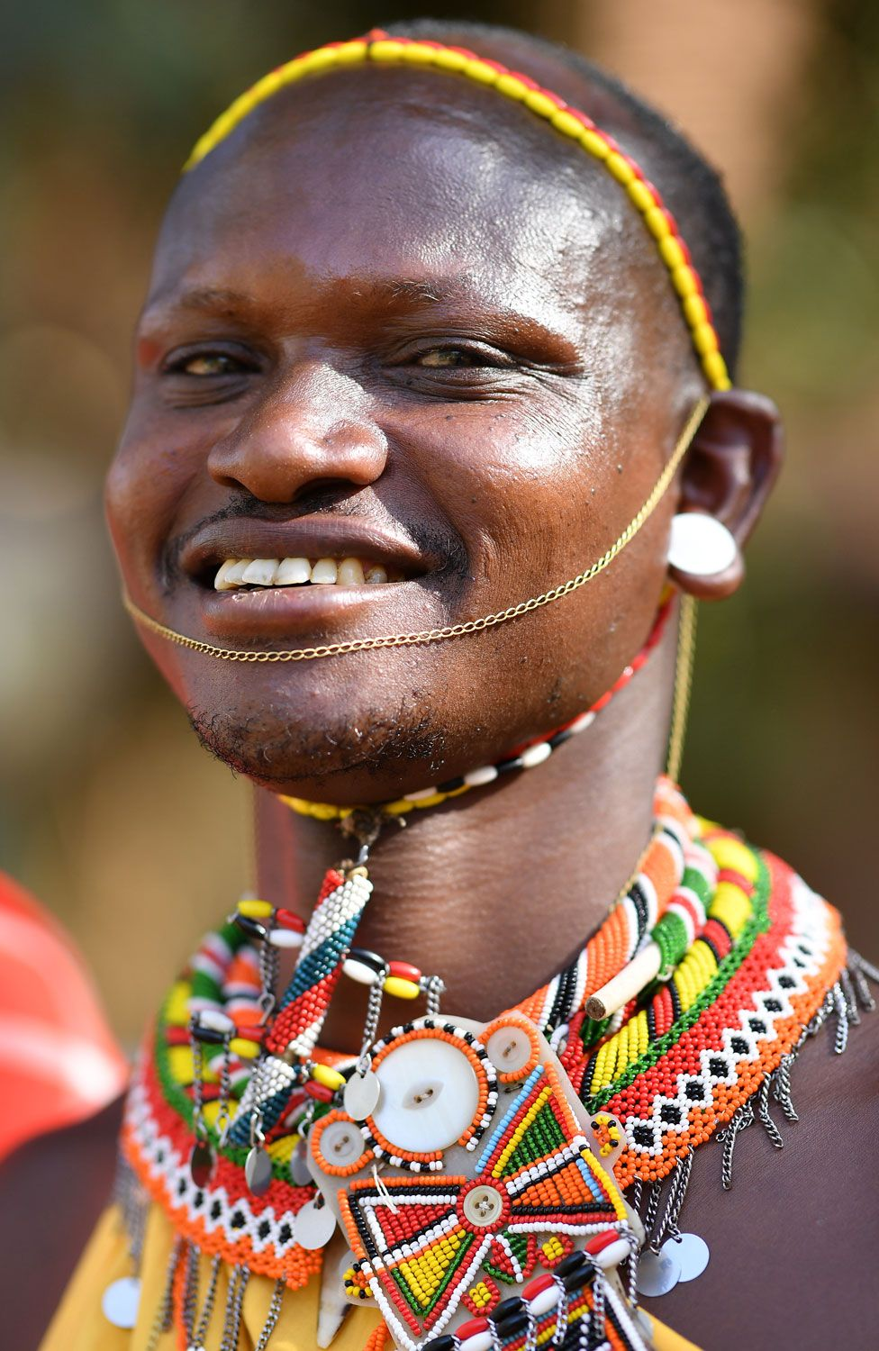 A man wearing traditional Masaai dress on March 13, 2019