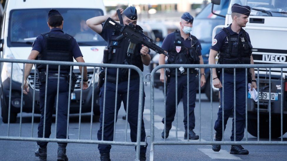 French Police forces secure the area near the Paris courthouse