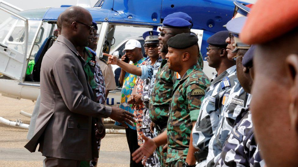 Defence Minister Alain-Richard Donwahi meeting soldiers in Bouake