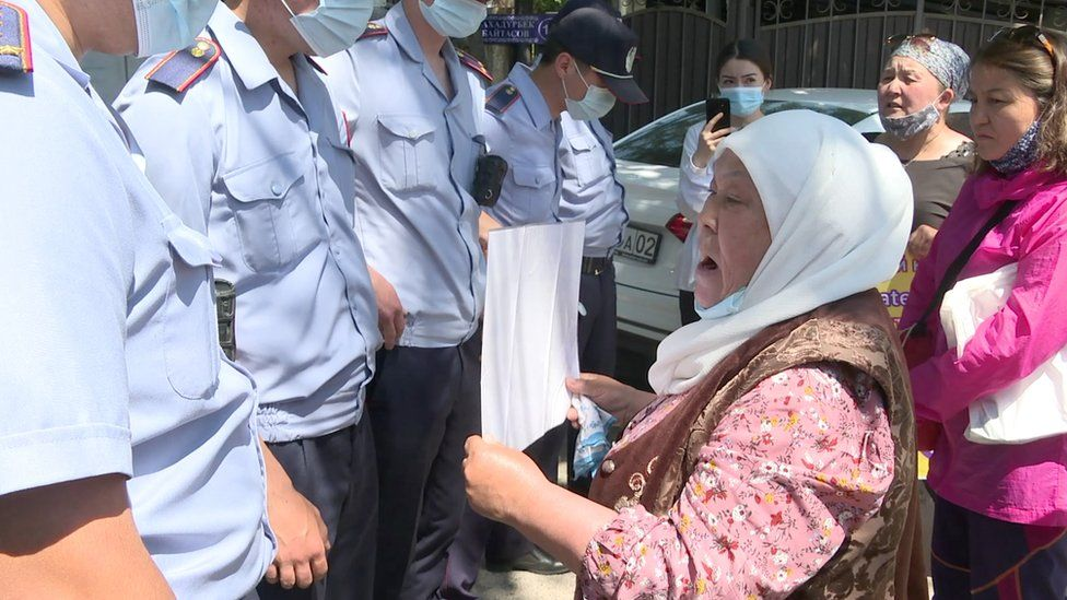 Khalida takes part in a protest
