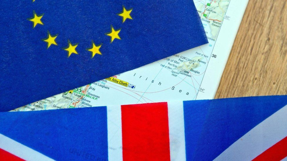 Picture showing map of Irish Sea and EU and union jack
