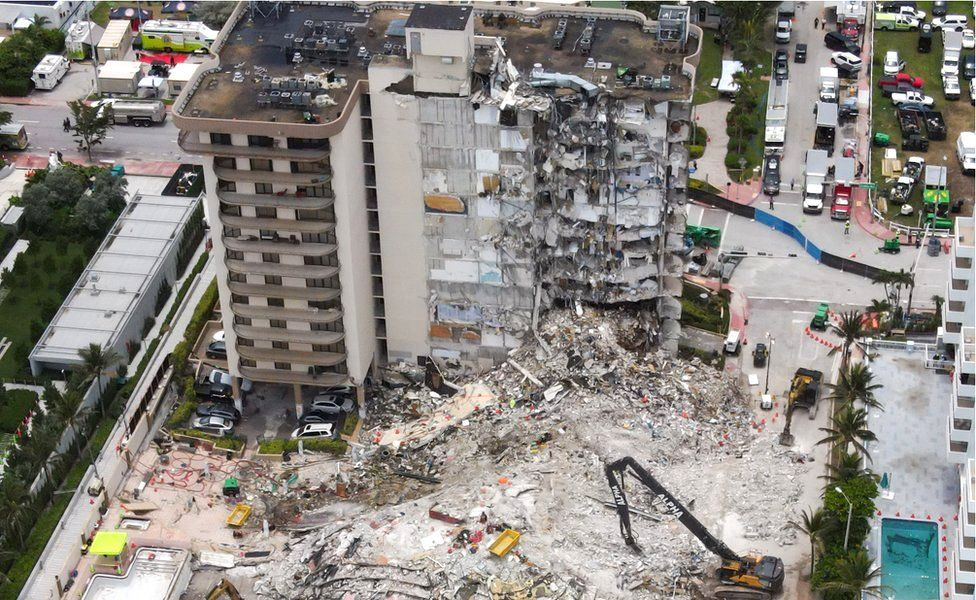 An aerial view of the site during a rescue operation of the Champlain Tower partially collapsed in Surfside, Florida, 1 July 2021