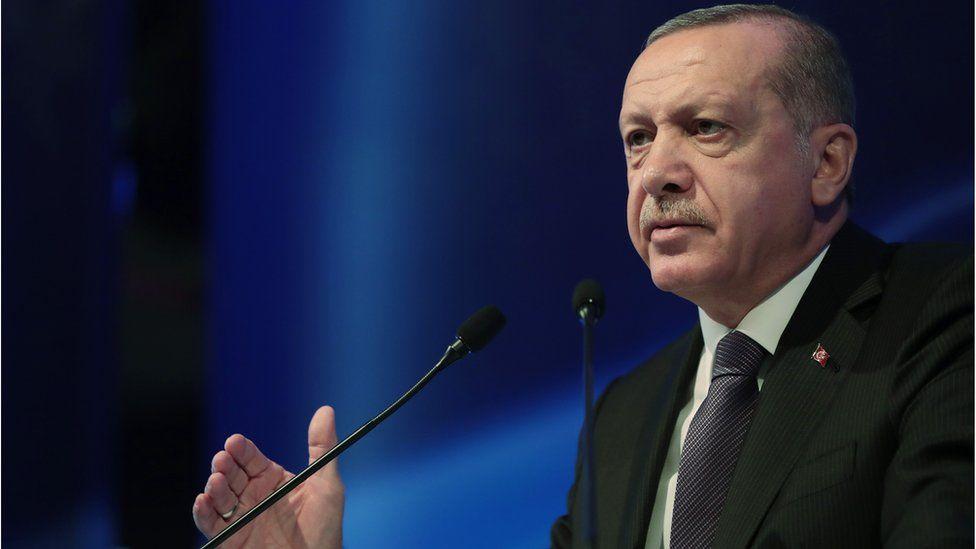 Turkish President Recep Tayyip Erdogan gives a speech at Grand Ankara Hotel, Turkey, 13 September 2018