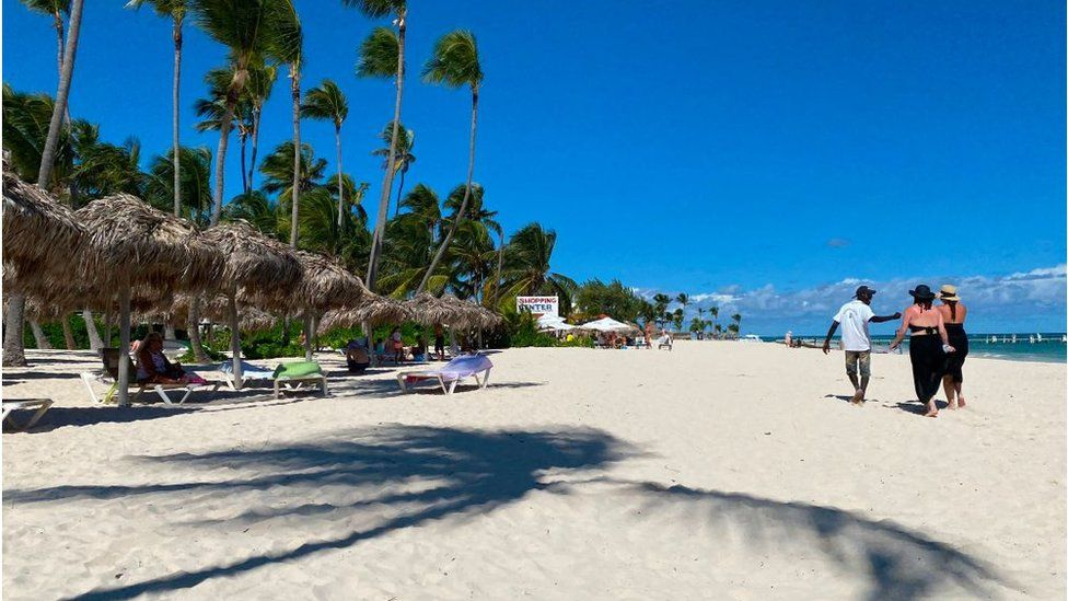 An almost empty beach in Punta Cana, Dominican Republic