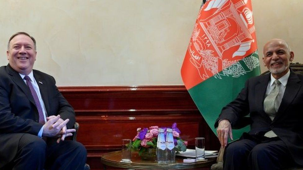 US Secretary of State Mike Pompeo (left) and Afghan President Ashraf Ghani in Munich, Germany. Photo: 14 February 2020