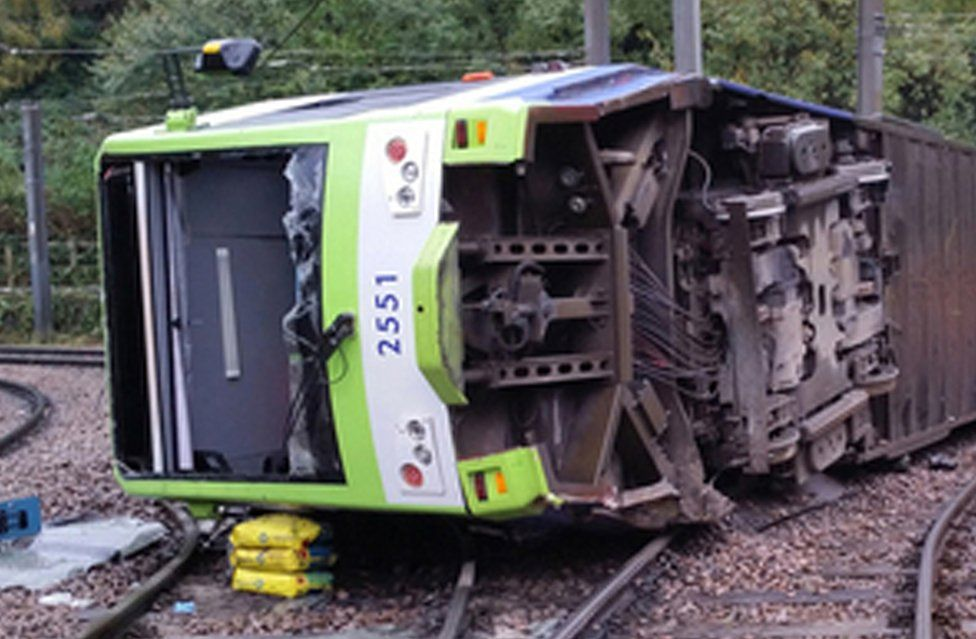 Overturned tram carriage
