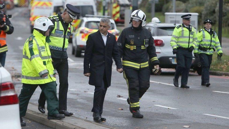 Sadiq Khan with emergency services