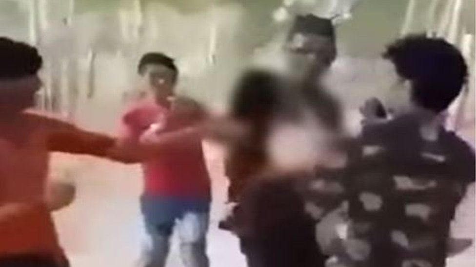 The men can be seen groping and abusing the women in the video