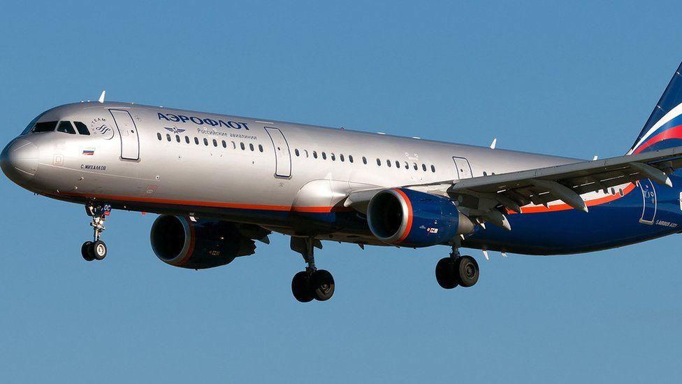 Airbus plane belonging to Russian airline Aeroflot