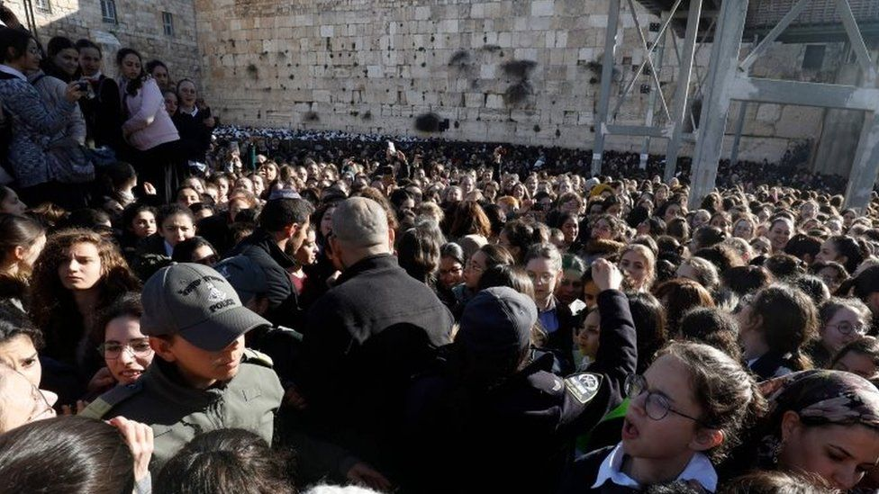 """Thousands of Ultra Orthodox Jewish girls gather at Judaism""""s holiest prayer site of the Western Wall in the Old City of Jerusalem on 8 March 2019"""