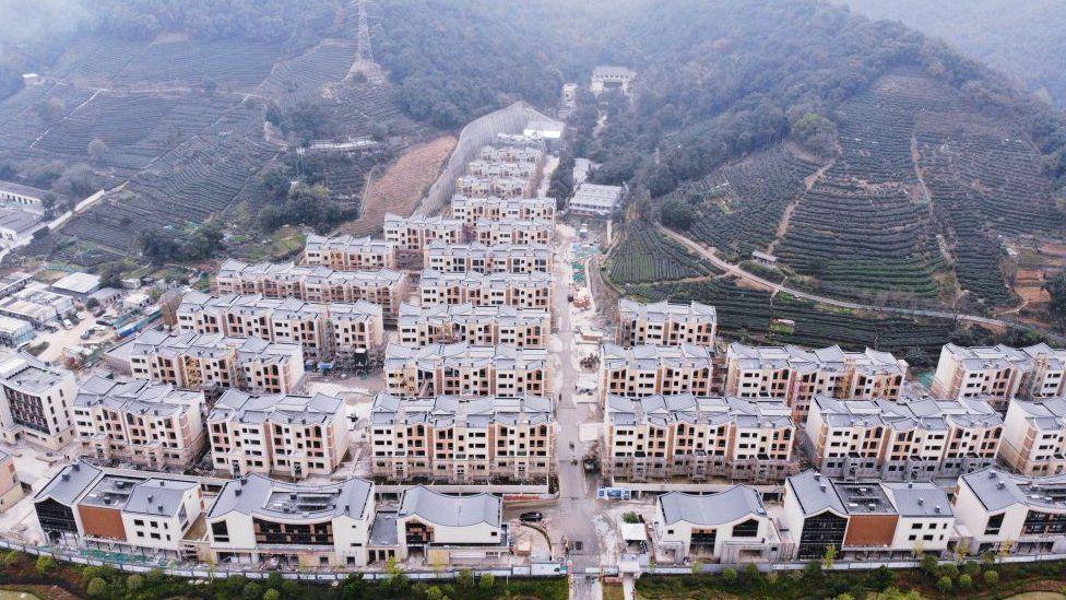 New apartment blocks built in rural China