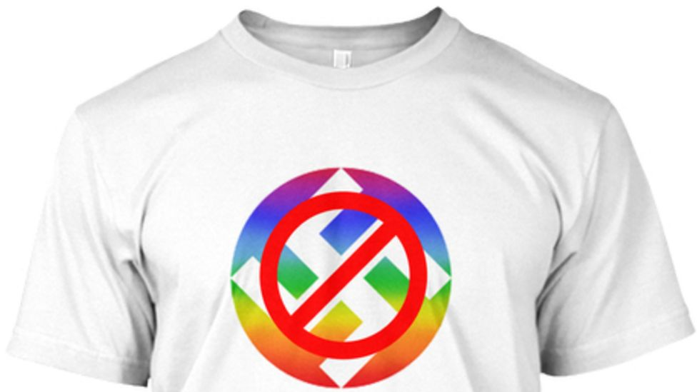 "A T-shirt displaying the amended ""anti-swastika"" emblem"
