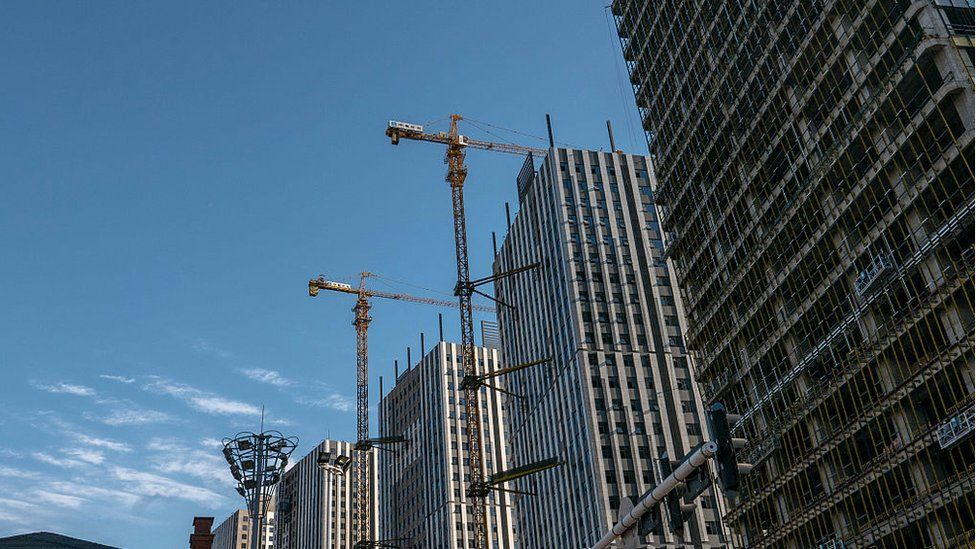 Apartment buildings under construction in China
