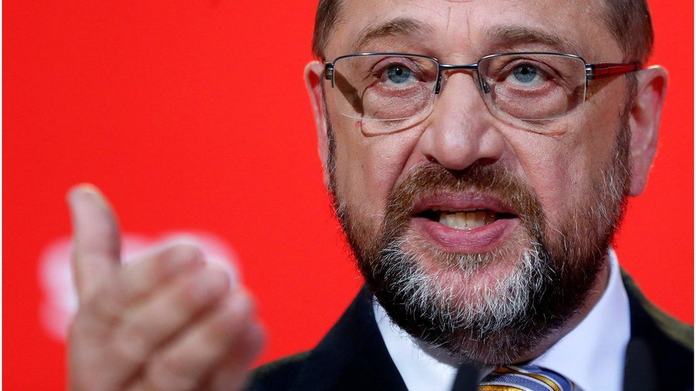 The leader of the German Social Democratic Party (SPD), Martin Schulz, speaks during a press conference in Berlin