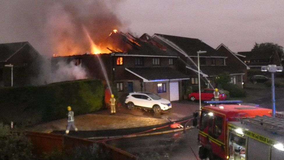 The roof of the house struck by lightning in Mercia Road, Andover