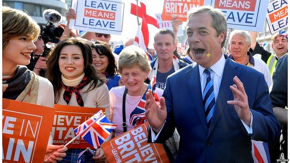 Nigel Farage at a Leave Means Leave rally
