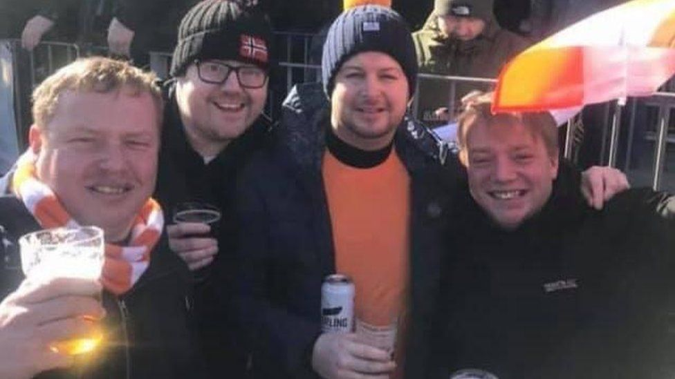 Chris Peachey (centre right) and friends