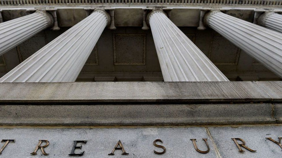 The façade of the US Treasury building