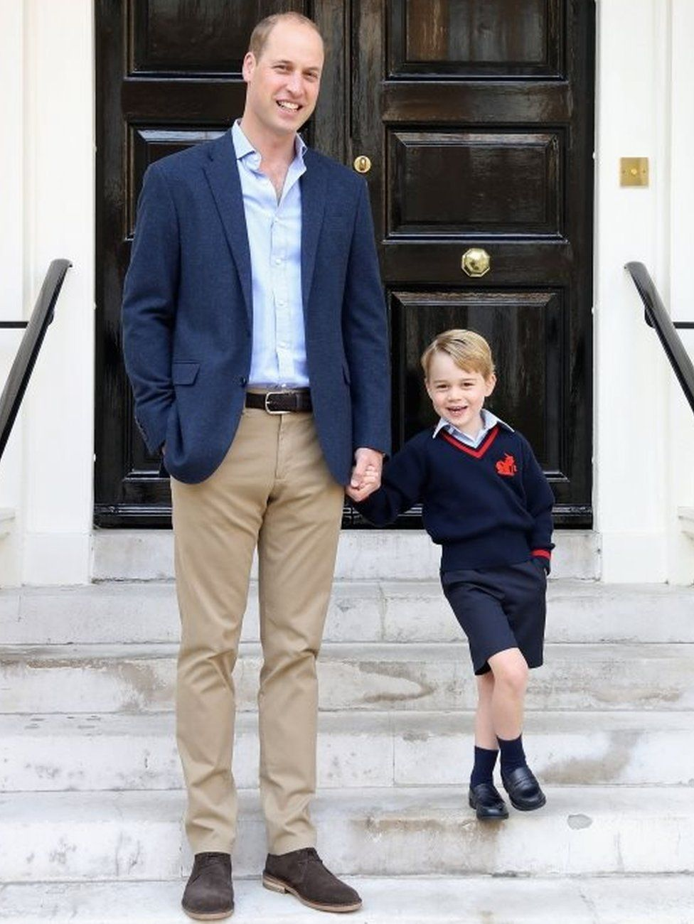 Prince George starts first day at school - BBC News