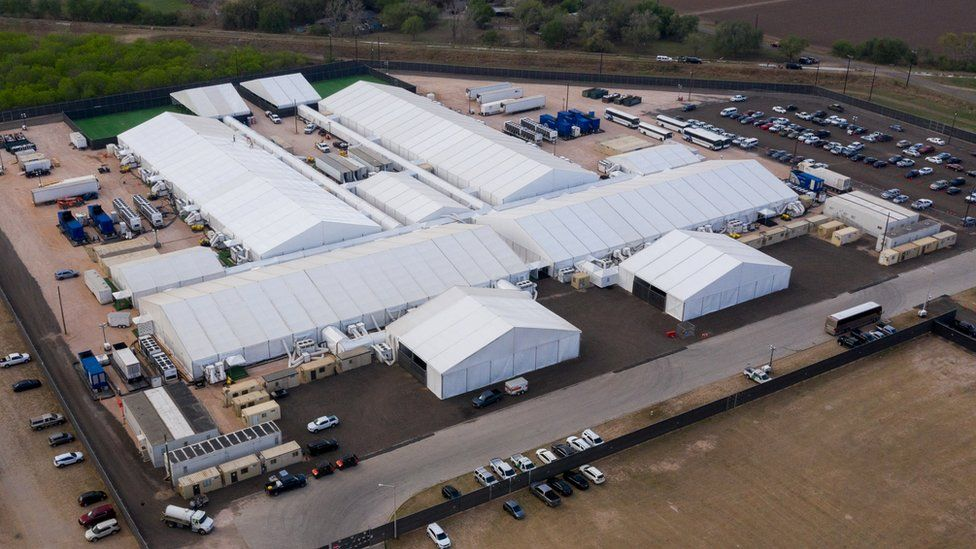 The government-run tent city in Donna at the US-Mexico border