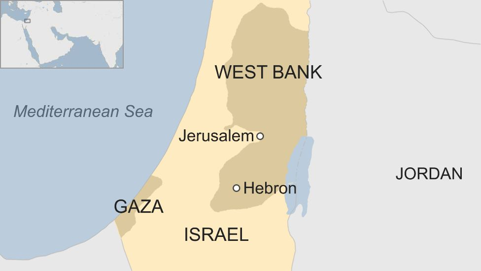 Map of Israel and West Bank showing location of Hebron