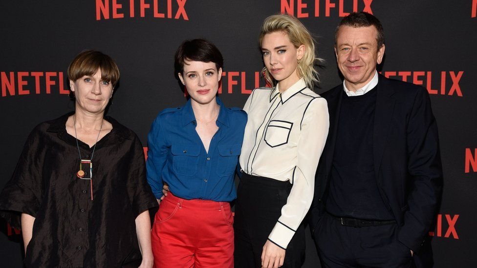Costume designer Jane Petrie, actors Claire Foy and Vanessa Kirby and executive producer Peter Morgan