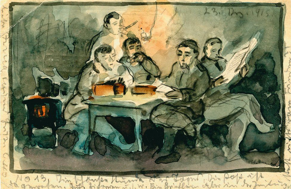 Painted postcard of a group of people sat at a table