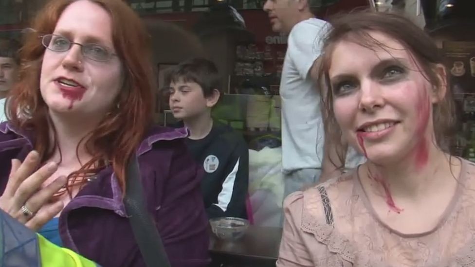Zombie protesters being arrested in London