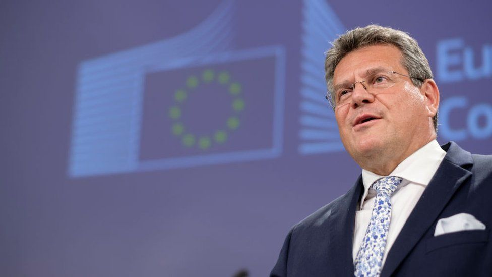 EU Interinstitutional Relations and Foresight Commissioner Maros Sefcovic talks to media on Brexit in the Berlaymont, the EU Commission headquarters on June 30, 2021