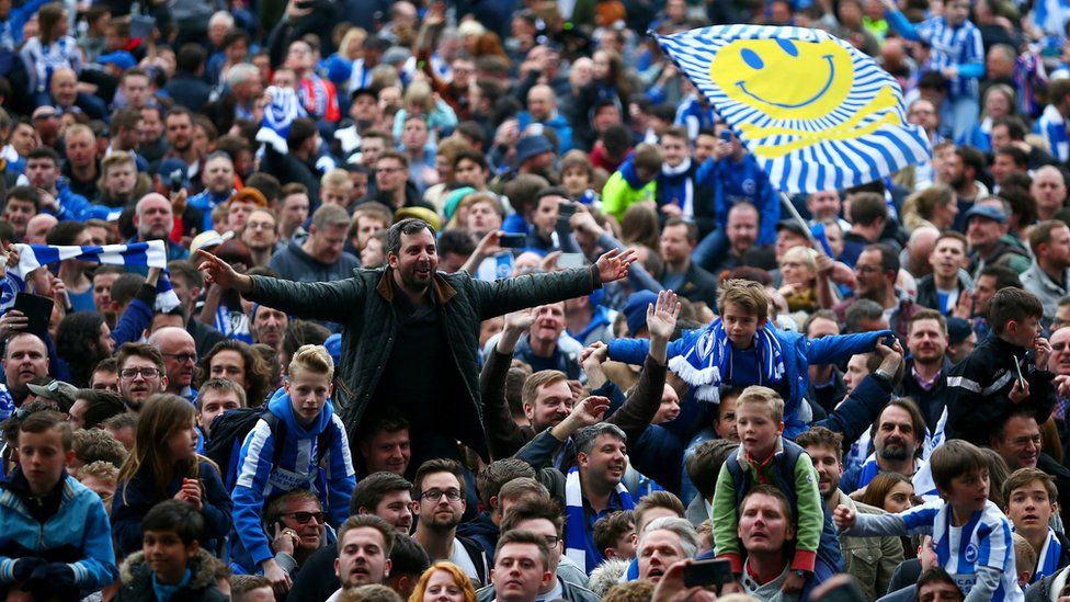 Fans celebrate on the pitch