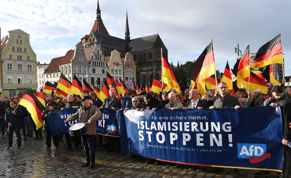 """AfD """"anti-Islamisation"""" rally in Rostock, eastern Germany (22 Sep 18)"""