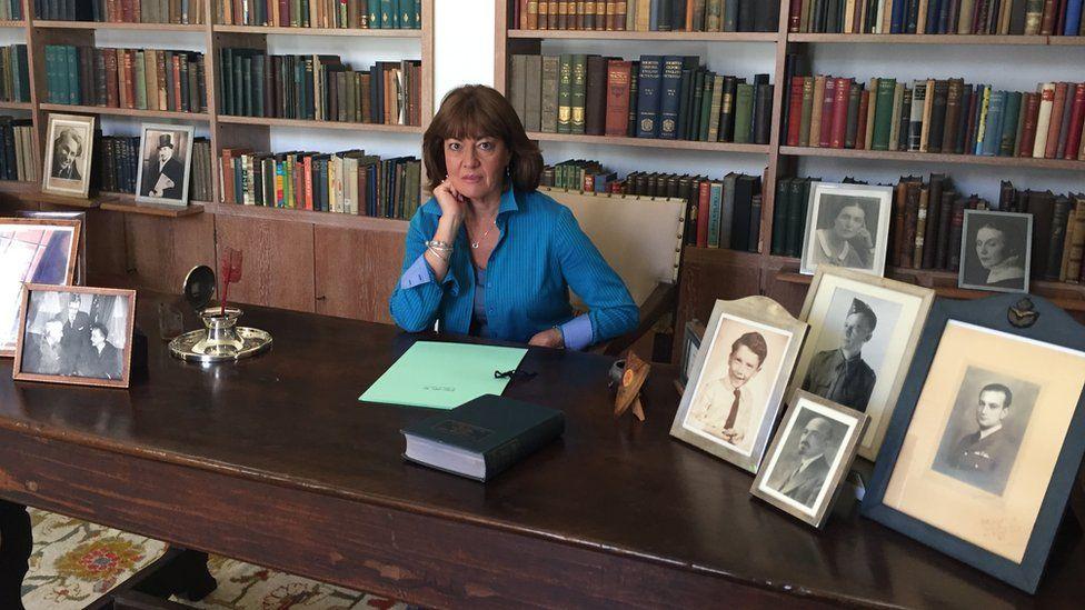 Jane Corbin at Chaim Weizmann's desk