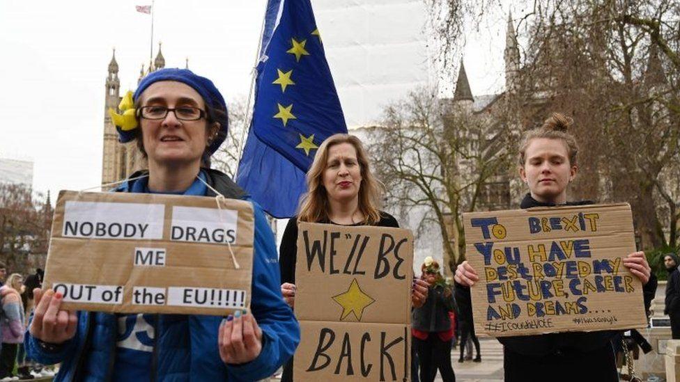 Pro-EU demonstrators in Parliament Square