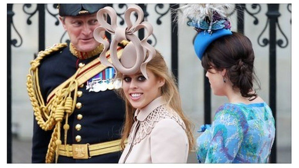 Princess Beatrice wearing the hat at the royal wedding