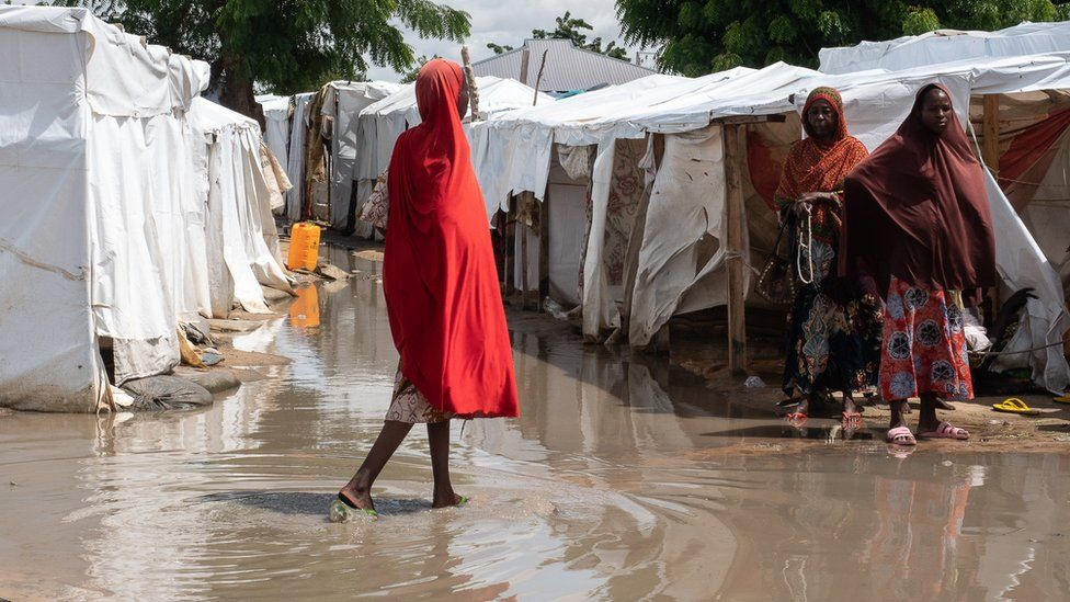 The refugee camp in Maiduguri of Nigeria shelters people who fled the Boko Haram insurgency