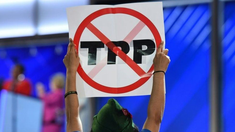 Anti-TPP protester at the Democratic National Convention (25 July 2015)