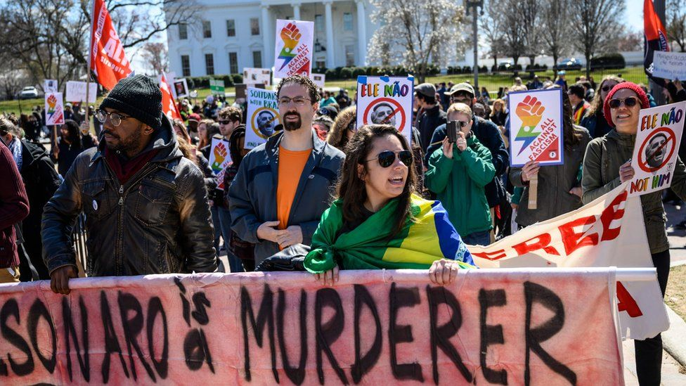 Activists protest against the visit of President Bolsonaro last Sunday outside the White House